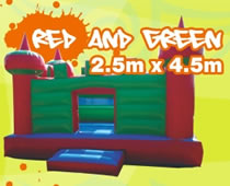 Red and green jumping castle